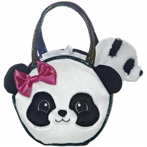 "Pretty Panda Fancy Pal Pet Carrier 8"" Plush by Aurora - 32605 Perspective: front"