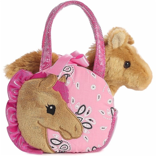 "Pretty Pony Fancy Pal Pet Carrier 8"" Plush by Aurora - 32766 Perspective: front"