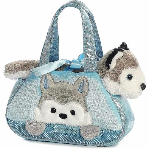 Peek-A-Boo Husky Stuffed Animal Purse by Aurora Perspective: front