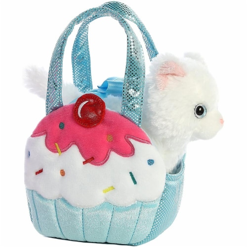 Aurora World Fancy Pals Pet Carrier Sweets Cupcake & Kitty Plush Perspective: front