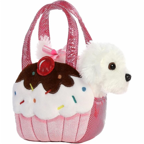 Aurora World Fancy Pals Pet Carrier Sweets Cupcake & Puppy Plush Perspective: front