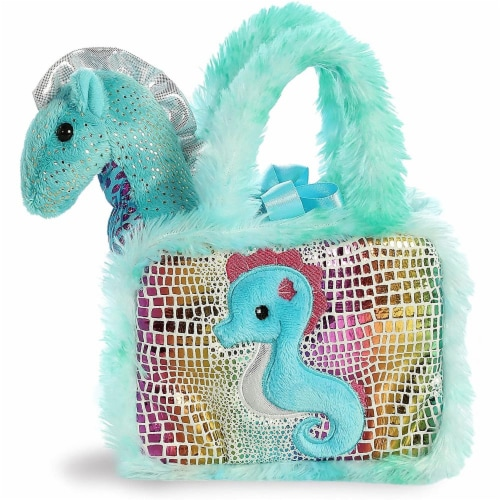 Aurora World Pet Carrier Plush Toy Animal, Fancy Pals Seahorse Perspective: front