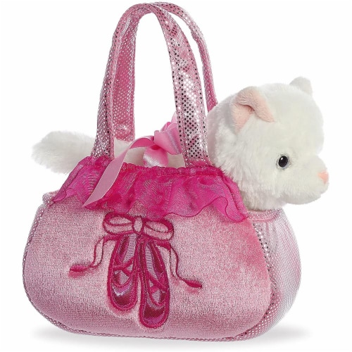 Aurora World Fancy Pals Plush Ballet Toy Pet Carrier, Pink Perspective: front