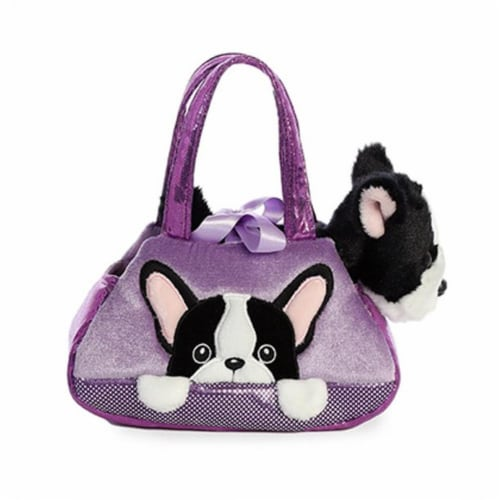 """Aurora - Pet Carrier - 7"""" Peek-A-Boo Plush French Bull Dog Perspective: front"""