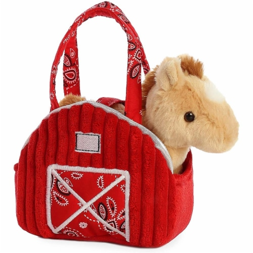 "Aurora 7"" Red Barn Pet Carrier Plush Toy,  Fancy Pals Horse Perspective: front"