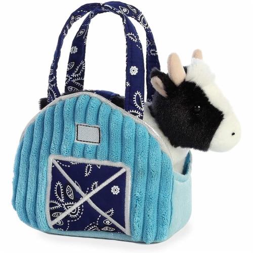 """Aurora 7"""" Aqua Blue Barn Pet Carrier Plush Toy,  Fancy Pals Cow Perspective: front"""