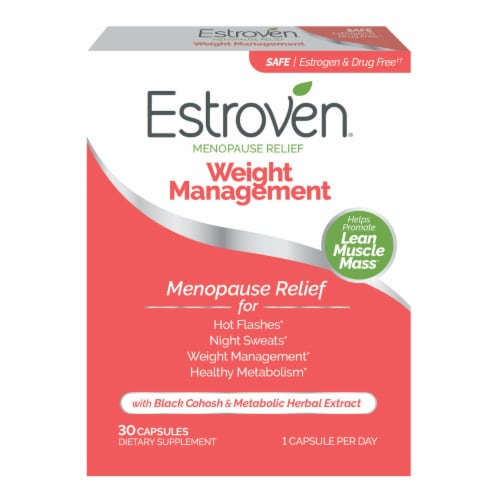 Estroven for Menopause Relief Weight Management Dietary Supplement Capsules Perspective: front