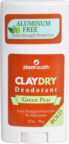 Zion Health  Claydry Aluminum Free Deodorant Green Pear Bold Perspective: front