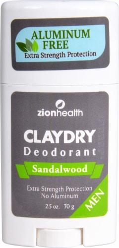 Zion Health  Claydry Aluminum Free Deodorant Sandalwood Men Perspective: front