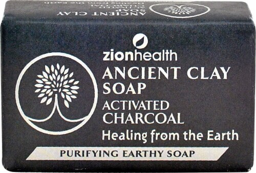 Zion Health Ancient Clay Soap Activated Charcoal Perspective: front