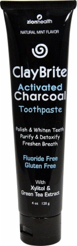 Zion Health  Claybrite Activated Charcoal Toothpaste   Natural Mint Perspective: front