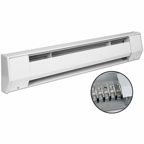 King Electric 4K1210BW 4 ft. 120V K Baseboard Heater - 1000W, White Perspective: front