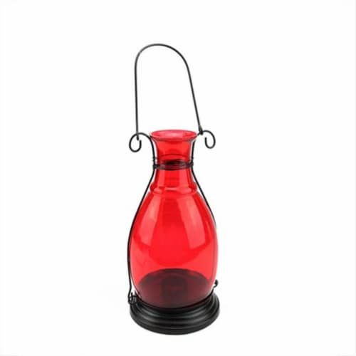 NorthLight 10.5 in. Transparent Red Decorative Glass Bottle Vase Tea Light Candle Lantern Perspective: front