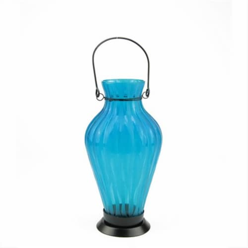 NorthLight 9.5 in. Frosted Blue Ribbed Vase Glass Bottle Tea Light Candle Lantern Perspective: front
