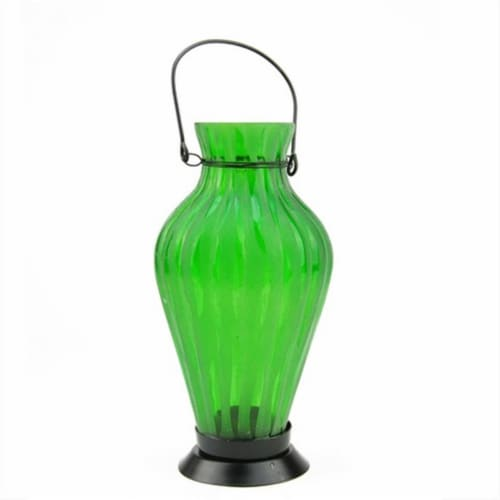 NorthLight 9.5 in. Frosted Green Ribbed Vase Glass Bottle Tea Light Candle Lantern Decoration Perspective: front