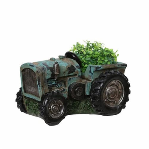 NorthLight 12.25 in. Distressed Teal & Black Tractor Outdoor Garden Patio Planter Perspective: front