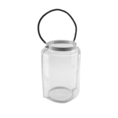NorthLight 18 in. Clear Glass Hurricane Pillar Candle Lantern with White Metal Frame Perspective: front