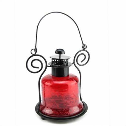 NorthLight 9.25 in. Decorative Distressed Red Bell Shaped Glass Tea Light Candle Holder Lante Perspective: front