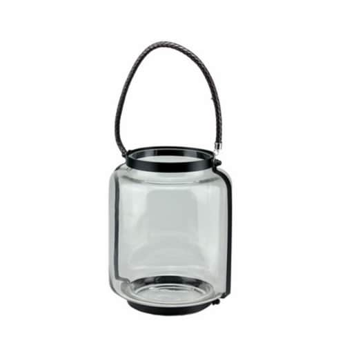 NorthLight 18 in. Clear Glass Hurricane Pillar Candle Lantern with Jet Black Metal Frame Perspective: front