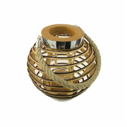 NorthLight 9.5 in. Rustic Chic Round Rattan Decorative Candle Holder Lantern with Jute Handle Perspective: front