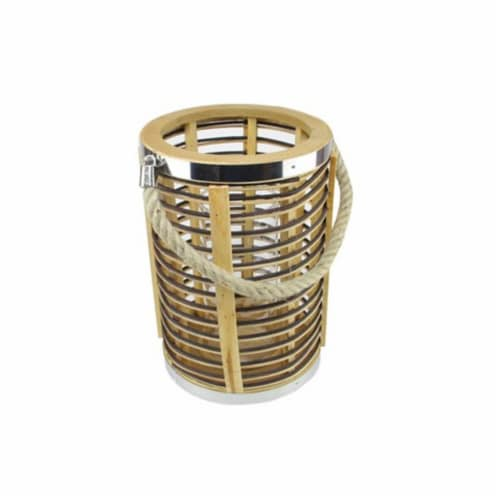 NorthLight 7.5 in. Rustic Chic Cylinderical Rattan Decorative Candle Holder Lantern with Jute Perspective: front