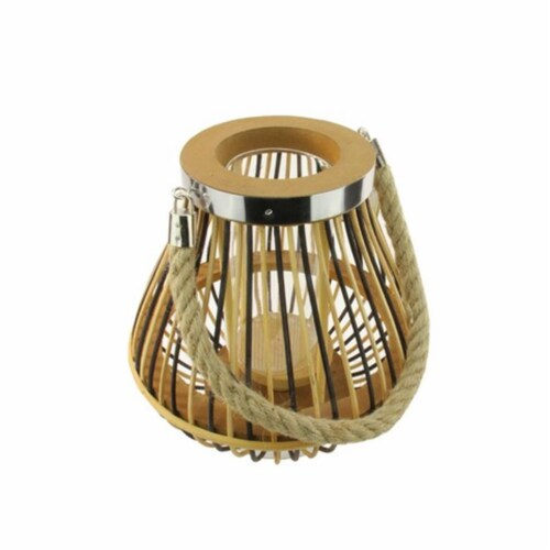NorthLight 9.25 in. Rustic Chic Pear Shaped Rattan Candle Holder Lantern with Jute Handle Perspective: front