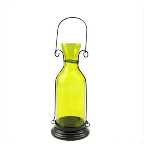 NorthLight 12 in. Transparent Yellow Decorative Glass Bottle Tea Light Candle Lantern Perspective: front