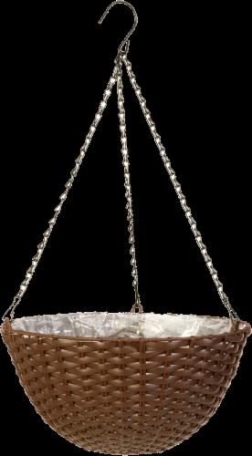 Panacea Resin Brown Wicker Hanging Basket Perspective: front