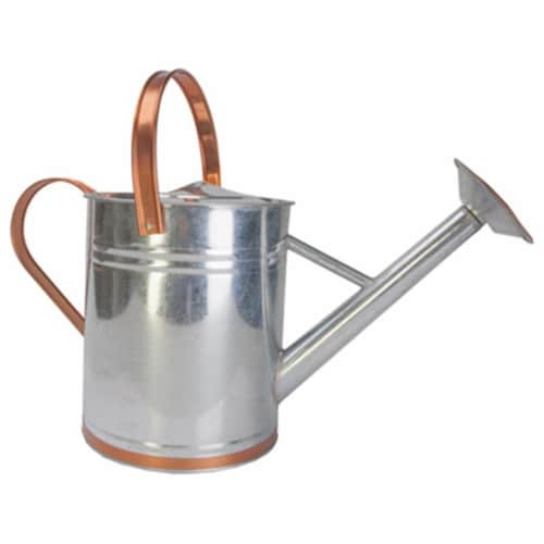 Panacea 84895 2 Gal. Galvanized Steel Watering Can With Faux Copper Accent Trim Perspective: front