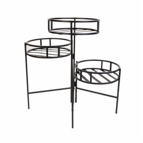 Panacea 3-Tier Contemporary Plant Stand - Black Perspective: front