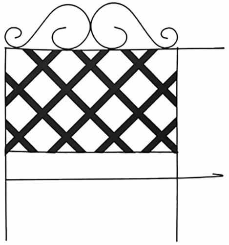 Panacea Lattice Folding Fence - Black Perspective: front
