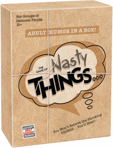 PlayMonster The Game of Nasty Things Board Game Perspective: front