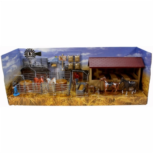 Country Life Horse Stable Rancher Corral with Accessories NewRay 1:32 Scale Perspective: front