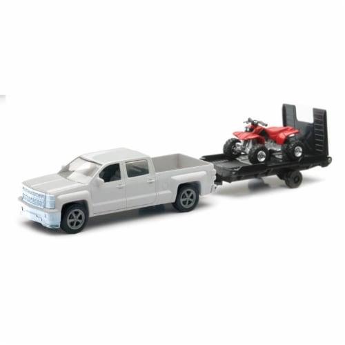 Chevrolet Silverado Die Cast Pick Up w/ ATV Trailer (1:43 Scale) Perspective: front