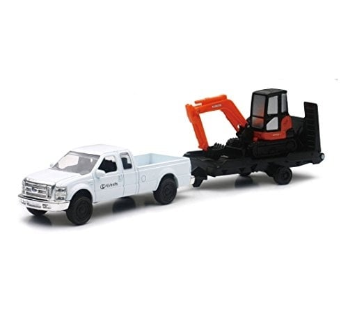 Die Cast Kubota Kx040 Excavator W/ Ford Pick Up Truck Perspective: front
