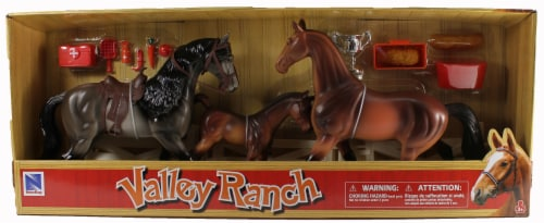 Valley Ranch 3 Horse Assortment (Grey and Brown) With Fence and Accessories Perspective: front