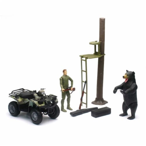 Wildlife Hunter 1:12 Scale Playset with Deer Feeder and ATV Perspective: front