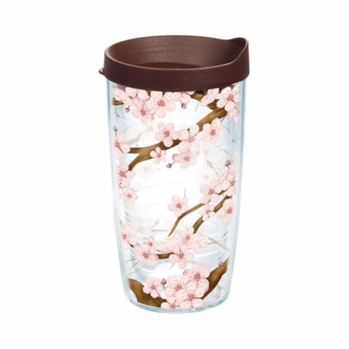 Tervis 6506919 Clear Tritan Cherry Blossom Tumbler with BPA Free, 16 oz Perspective: front