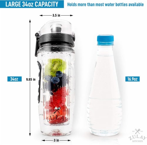 Zulay Kitchen 34oz Capacity Fruit Infuser Water Bottle With Sleeve Perspective: front