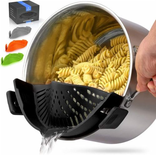 Zulay Kitchen Adjustable Silicone Pot Strainer For Most Pots & Pans Perspective: front