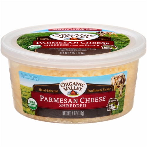 Organic Valley Shredded Parmesan Cheese Perspective: front