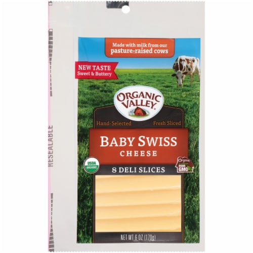 Organic Valley Baby Swiss Cheese Slices Perspective: front