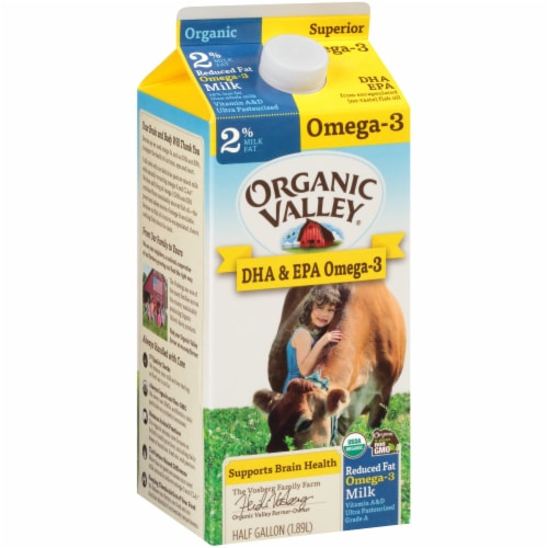 Organic Valley 2% Reduced Fat Omega-3 Milk Perspective: front