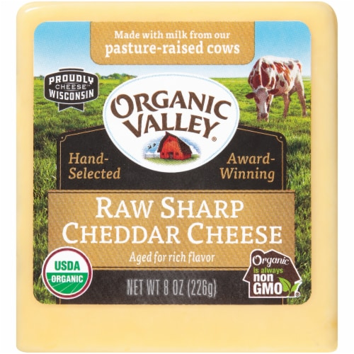 Organic Valley Raw Sharp Cheddar Cheese Perspective: front