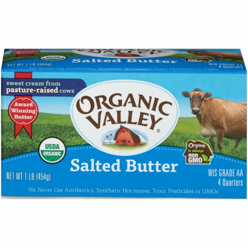 Organic Valley Quartered Salted Butter Perspective: front
