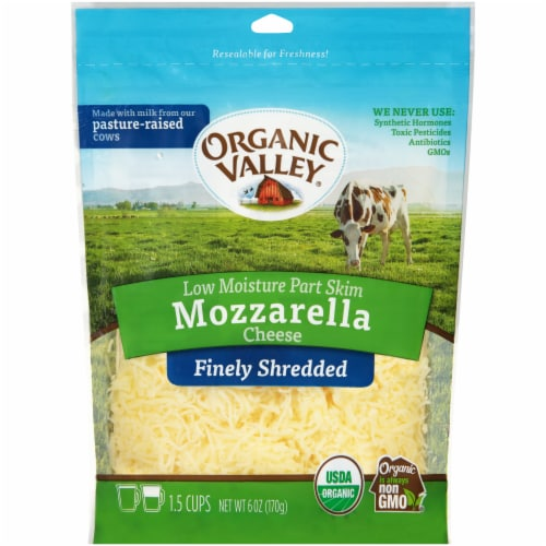 Organic Valley Finely Shredded Mozzarella Cheese Perspective: front