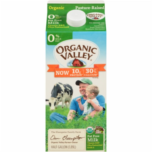 Organic Valley Fat Free Milk Perspective: front