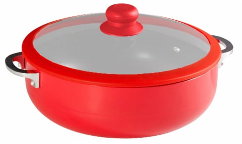 Imusa Ceramic Caldero With Glass Lid - Red Perspective: front