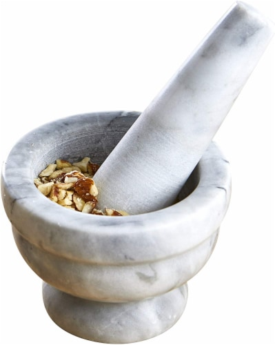 IMUSA Marble Molcajete Mortar and Pestle - White Perspective: front