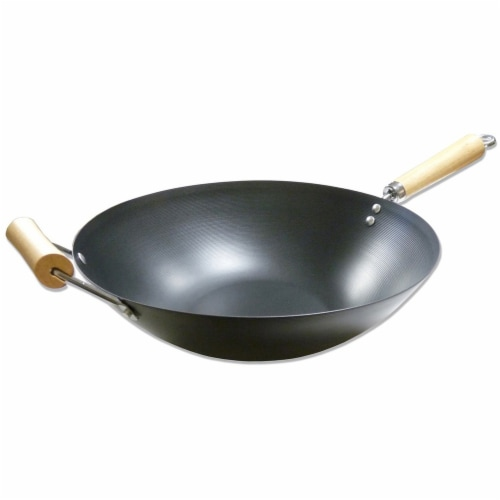 IMUSA Non-Stick Wok with Wood Handle Perspective: front